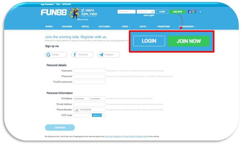 Fun88 Register Feature