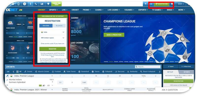 Register to 1xBet in Less Than A Minute