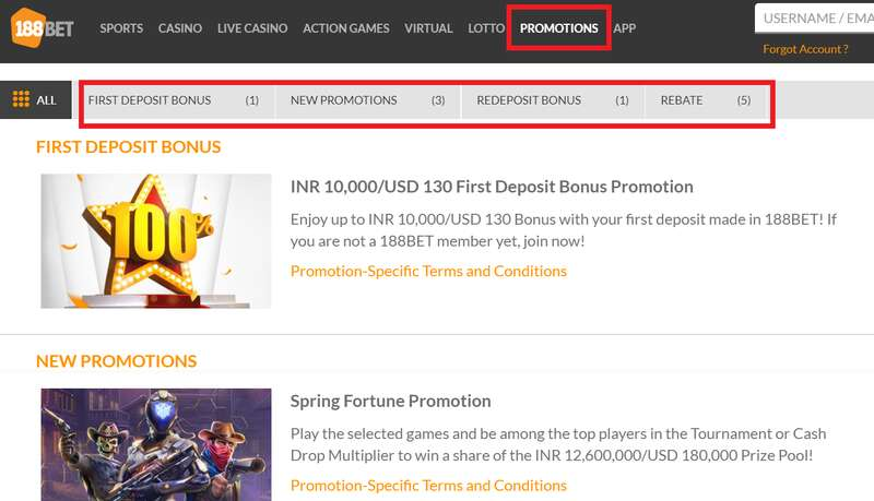 188Bet Grand Experience with Impressive Promotions