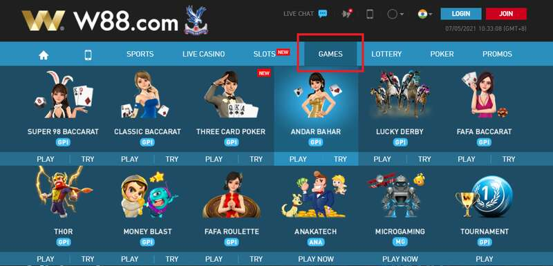 All You the Games You Want in W88 Dashboard